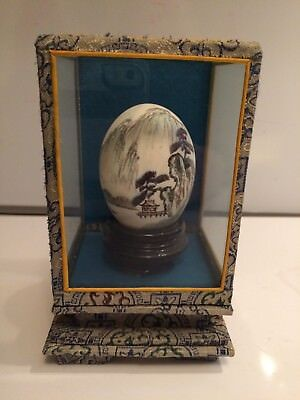 Handpainted Signed Egg In Glass Display Case Accomplished Asian Painter