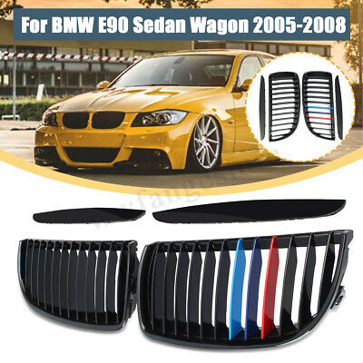 Pair Front Kidney Grille Grill Gloss Black M-Color For BMW E90 Sedan Wagon 05-08