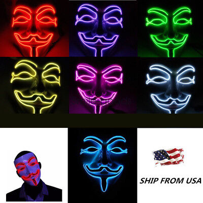 Anonymous Hacker LED Light Mask V -- Vendetta Anonymous Face Fancy Cosplay Mask