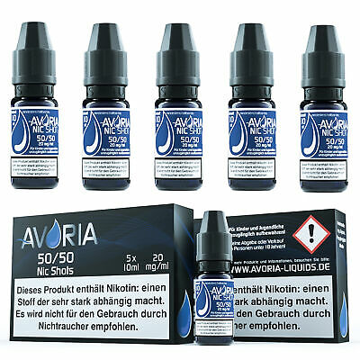 AVORIA Nikotin Shots Shot 5x 10ml 20mg für Base Liquid E-Liquid Aroma VPG VG PG