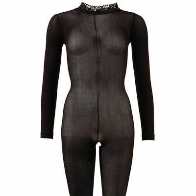Mandy Mystery lingerie Langarm Catsuit ouvert schwarz M/L Overall Anzug Body