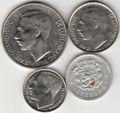 4 different world coins from LUXEMBURG
