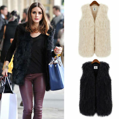 Womens Faux Fur Waistcoat Gilet Jacket Sleeveless Outwear Warm Vest Coat S -3XL