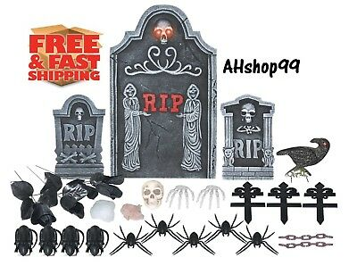 24 PCS Assorted Spooky Decor Halloween Lighted Grave Set Twin Reapers Tombstones