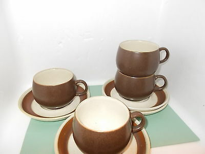 DENBY potters wheel / russett ? cups and saucers x 4