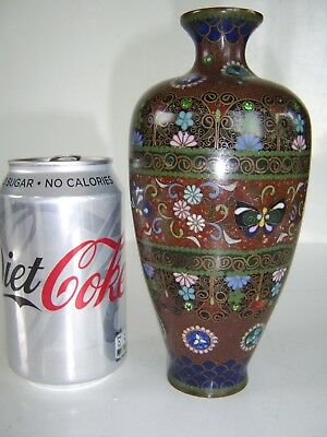 Good Sized Antique Chinese Cloisonne Vase Beautiful Butterfly Colour Definition