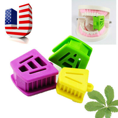 3PCS/1set Silicone Latex Mouth Prop Bite Blocks Purple Green Yellow Oral FDA CE