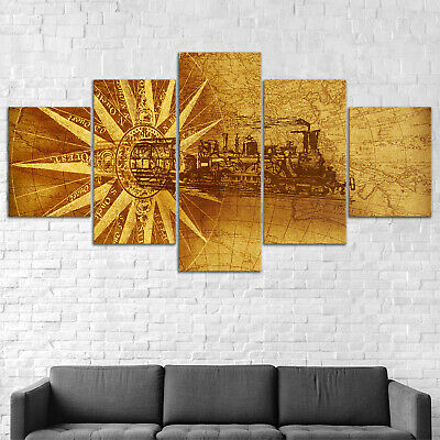 Locomotive Old World Map Canvas Print Painting Framed Home Decor Wall Art Poster
