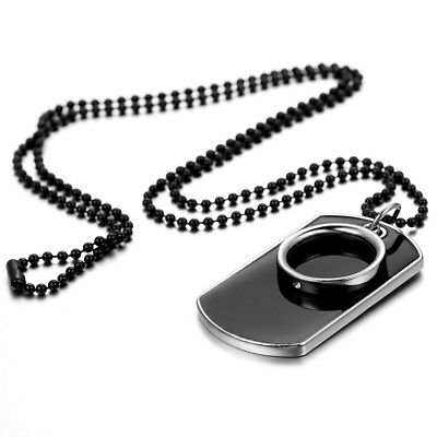 Men's Stainless Steel Black Ring Dog Tag Pendant Necklace With Bead Chain Gift