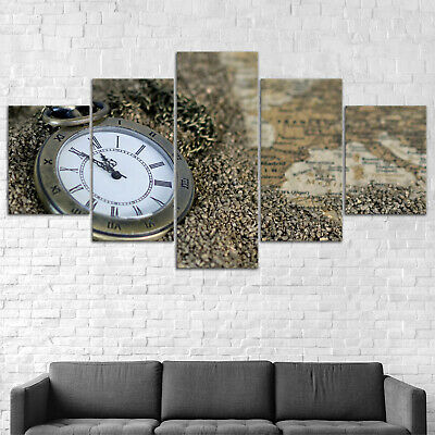 Pocket Watch Map Canvas Print Painting Framed Home Decor Wall Art Poster 5Pcs
