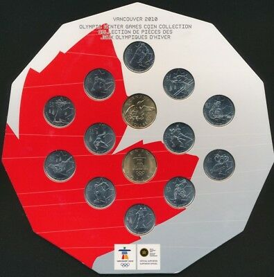 Canada 2010 25c Olympic Winter Games 14 Coin Collectors Set