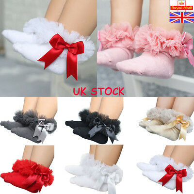 Newborn Baby Girls Tutu Socks Bow Lace Infant Ruffle Frilly Cotton Short Socks
