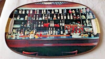 WOODEN 70S DRINKS SPIRITS COCKTAILS ADVERTISING TRAY MADE IN JAPAN 45CM X  30CM