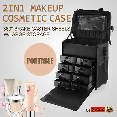 Makeup Storage Box Train Cosmetic Luggage Organizer Rolling Beauty Case Soft NEW