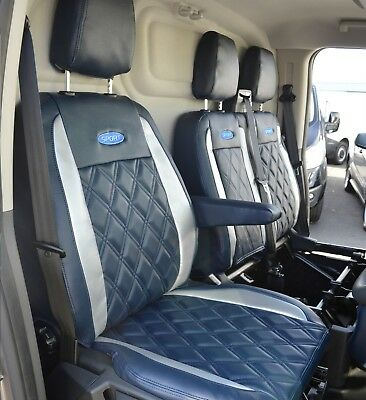 Ford Transit L2 LWB L4 Tipper Leather Look Diamond Navy & Silver Seat Covers