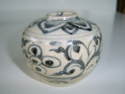 Old Antique  Blue White Vase Jar Possibly Ink Pot - Part Old Chinese Collection