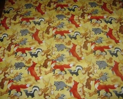 Quilting Fabric ~ Animals On Yellow ~ Cotton ~ 1.70 Metres