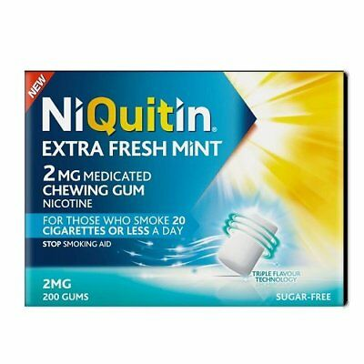 Niquitin Extra Fresh Mint 2mg Medicated Chewing Gum Nicotine - 200 Gums