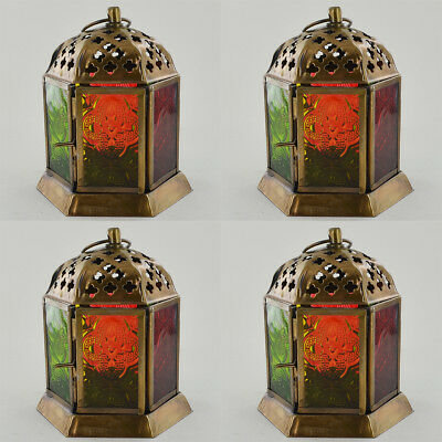 Moroccan Style Lanterns Brass Antique LED Tea Light Candle Holders - Set of 4