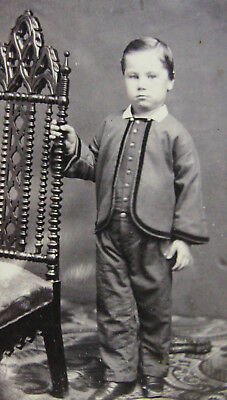 Antque Civil War Era Cdv Photo Of Cute Little Boy Wearing Zouave Outfit Dover Nh