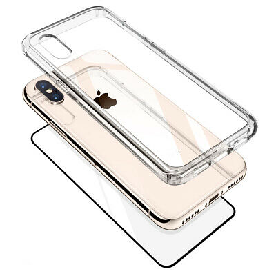 Clear Hard Plastic Back Bumper Case Cover Glass for Apple iPhone XS XR XS MAX