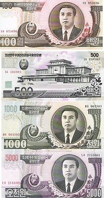Lote De 4 Billetes =100,500,1000 Y 5000 Won De  Corea Sc