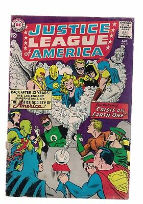 DC Comics Justice League of America no 21 Aug 1963 12c USA Crisis on Earth-One