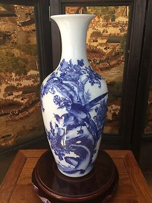 44CM Reproduced Antique Chinese Blue-and-white Porcelain Vase - Hand-painted