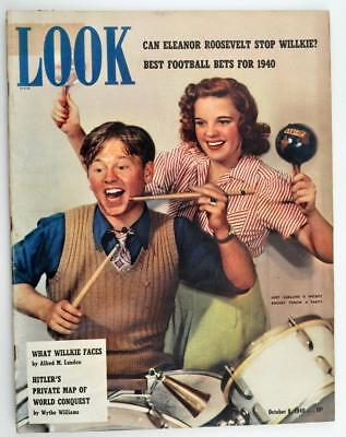 Vintage Look Magazine October 8 1940 Judy Garland & Mickey Rooney Cover
