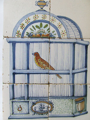 Dutch Delft Tile-panel with a Bird in a Cage-Midth 19th Century