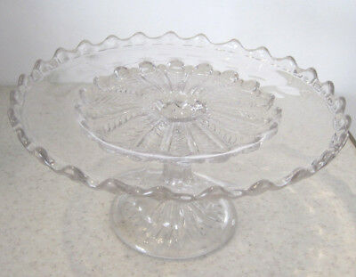 Lovely Large Clear Glass Cake Stand 24cm Single Tier