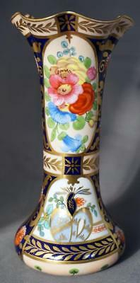 Antique Crown Staffordshire Porcelain Imari English Rose Pattern Vase