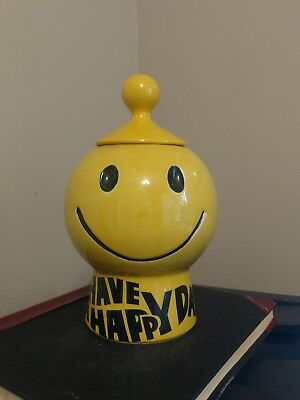"""Vintage McCoy """"Have a Happy Day : Cookie Jar- Yellow -1970's"""