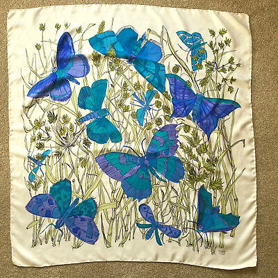 Vintage Liberty  Large Silk Scarf Blue Teal Mauve Butterflies Hand Rolled Edges