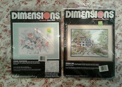 Lot of 2 vintage 80s Dimensions Cross Stitch Kits: stamped & no count **NEW**