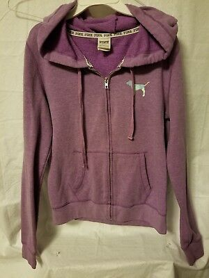 238182e002dba PINK BY VICTORIA SECRETS womens Sz Medium Purple Zip up Hoodie
