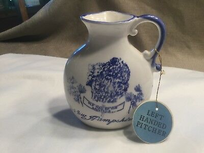 Vtg Ceramic Left Hand Pitcher Old Man of the Mountains New Hampshire collectible