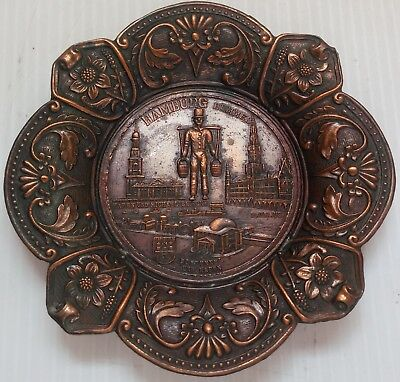 Vintage Collectible Ornate Copper Hamburg Wall Hanging - NICE!