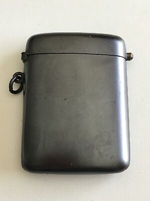 Antique Gun Metal Match Safe With Blue Cabochon Knob  Nice Condition