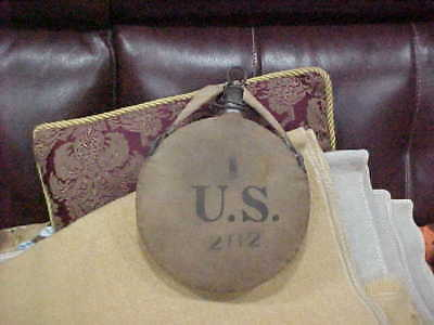 Vintage US Military Canteen 202 75  Metal Canvas w RIA 1905 Mint Strap
