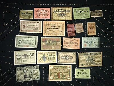 Lot of 21 old banknotes/Notgeld form Germany