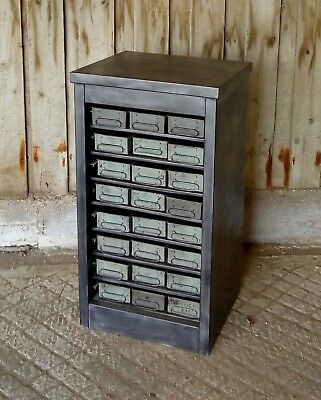 A RECLAMED STRIPPED AND LAQCUERED INDUSTRIAL DRAWER STORAGE UNIT ref M1187