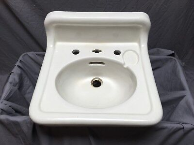 Antique Ceramic White Porcelain Bath Wall Sink Old Crane Vtg Trenton 556-18E