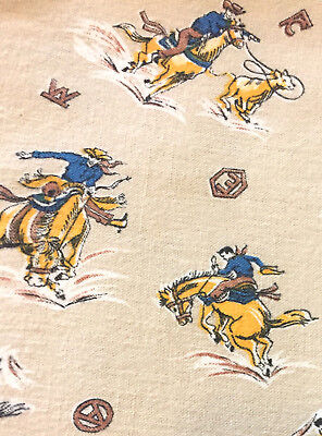 Vintage Mid Century Western Cowboy Rodeo Cotton Fabric Material 2 Pieces Rare!!!