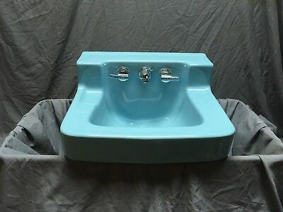Vtg Mid Century Light Blue Porcelain Bath Wall Sink Standard Shelf Back 559-18E