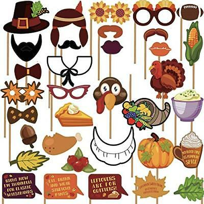 Sayala 36Pcs Photo Booth Puntelli Happy Thanksgiving Photo Prop Kitturkey Maple