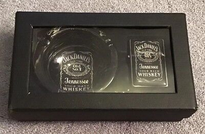 New Jack Daniels Glass Ashtray And Lighter In Box