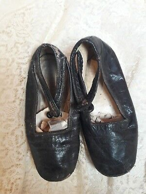 Antique Baby Shoes Victorian Doll Black Leather Original Shabby Chic Display