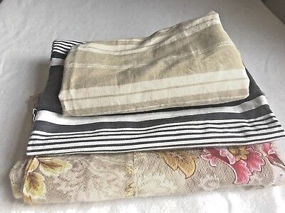 Antique Fabric Remnants Ticking & Floral Textiles French Home Decor 3pc Projects