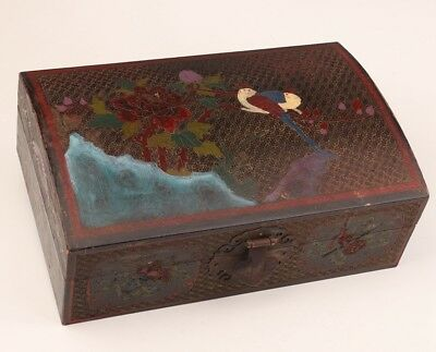 Antique Lacquerware Jewelry Box Antique Purely Hand-Painted Peony Old Bird